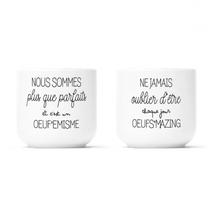 Pack 2 coquetiers porcelaine - Oeuf