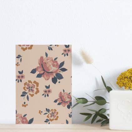 Carte postale Imprimé roses et fleurs moutarde