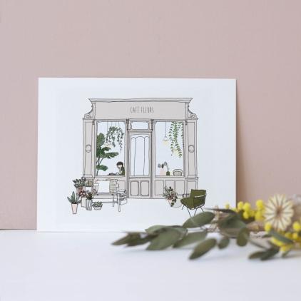 Carte postale Café fleur