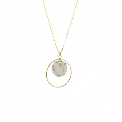 Collier or piecette ronde marbre blanc et cercle or CO45 001