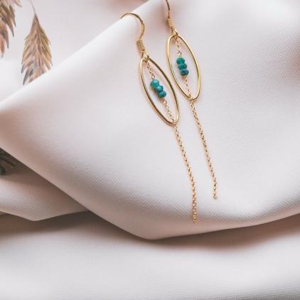 Boucles d'oreilles June plaqué or pierres agates- 10549 Amulette