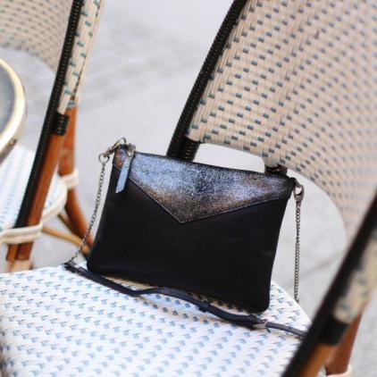 Evelyne sac cuir vachette pailleté - Noir