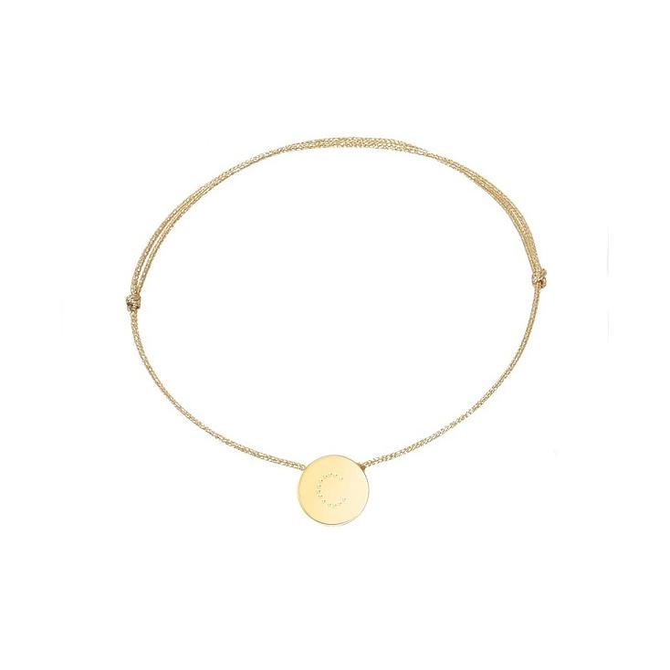 bracelet cordon doré - lettre E