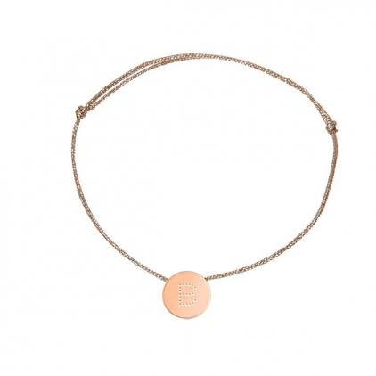 bracelet cordon rose gold - lettre E