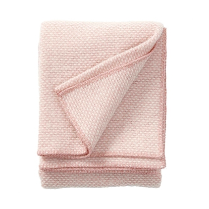 Plaid - Domino pink - woven wool throw