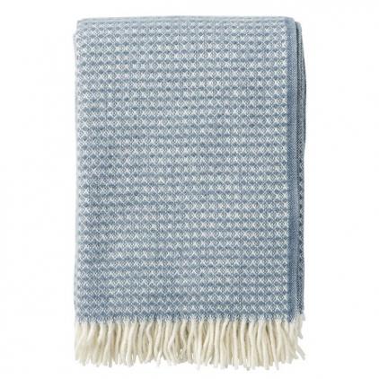 Plaid - Diamonds bluestone woven wool throw