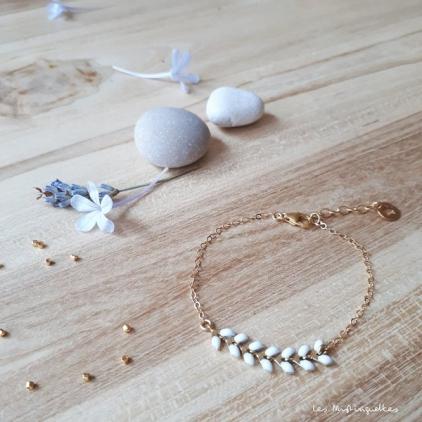 Bracelet Victoire - blanc - plaqué or/laiton