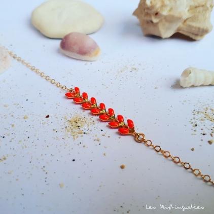 Bracelet Victoire - corail - plaqué or/laiton