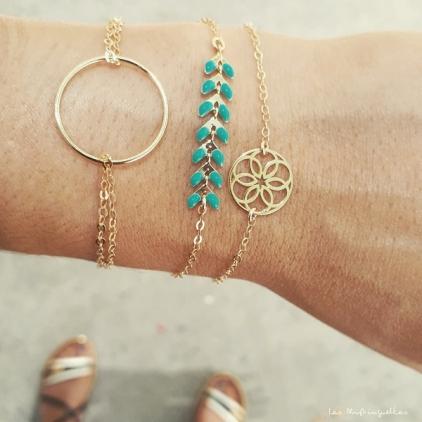 Bracelet Victoire - turquoise - plaqué or/laiton