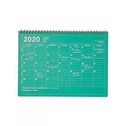 Notebook calendar 2020 medium green