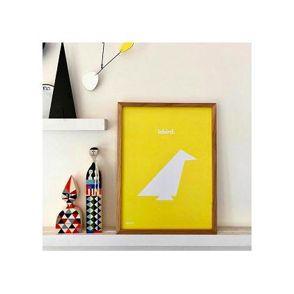 Le Bird affiche 50 x 70 cm jaune JLW