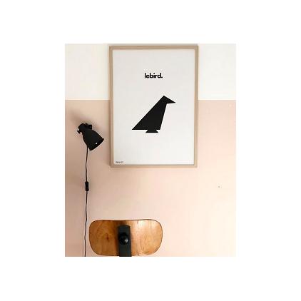Le Bird affiche 50 x 70 cm noir et blanc WLN