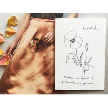 Papillonnage - carte postale - coquelicot