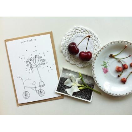 Papillonnage - carte postale - vélo