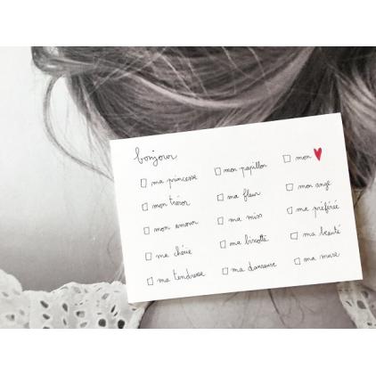 Papillonnage - carte postale - bonjour à cocher - fille