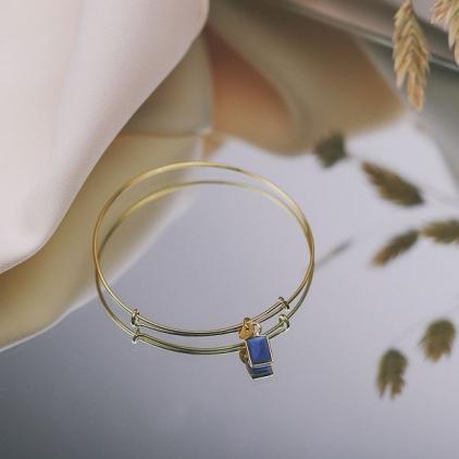 Bracelet Elsa plaqué or saphir- 10535 amulette
