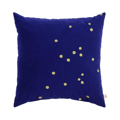 housse coussin 50 x 50 cm - Lina So Blue Gold Dots