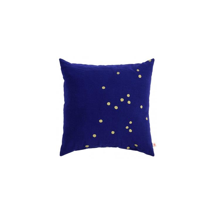 housse coussin 50 x 50 cm - Lina So Blue Gold Dots