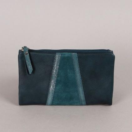 Lexi - portefeuille cuir vachette bleu paon