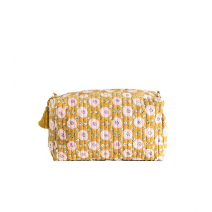 Big Travel Pouch - Shivu - Mustard/Pink