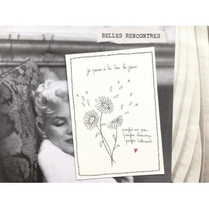 Papillonnage - carte postale - je pense à toi tous les jours - 2