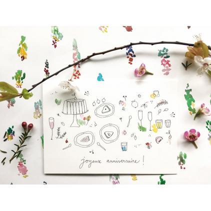 Papillonnage - carte postale - Goûter d'anniversaire