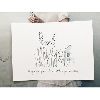 Papillonnage - carte postale - Un jardin