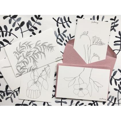 Papillonnage - Lot de huit petites cartes sans enveloppes - des fleurs