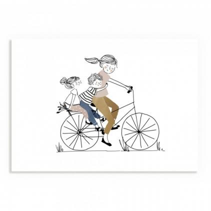 Affiche A5 - Balade à Vélo Fille et Garçon