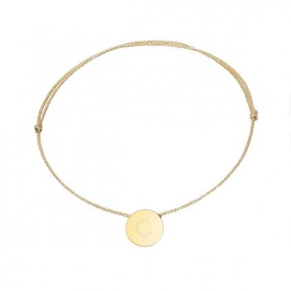 bracelet cordon doré - lettre M