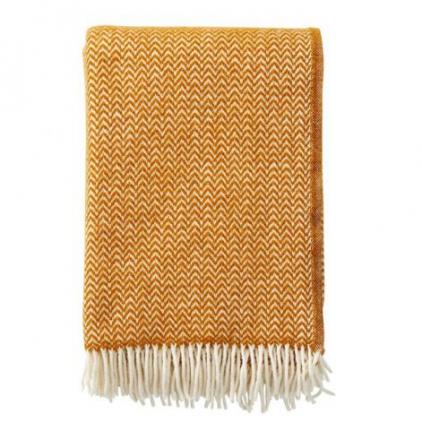 Plaid - Chevron caramel - woven wool throw