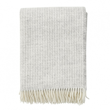 Plaid - Line light grey - wooven throw 100% lambs wool