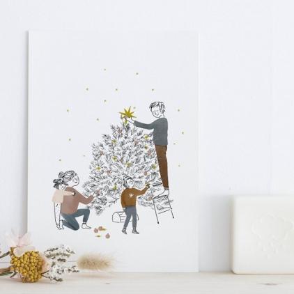 Carte avec enveloppe - Sapin Joyeux Noël