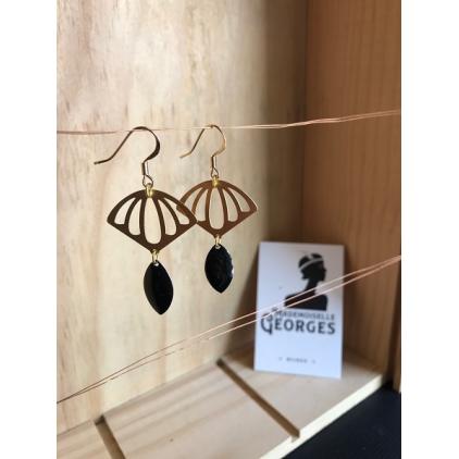 Boucles d'oreilles laiton doré et noir - ACAPULCO - 04