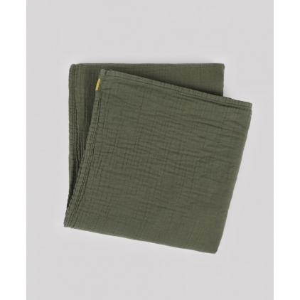 Plaid en double gaze de coton 170 x 250 cm vert câpre