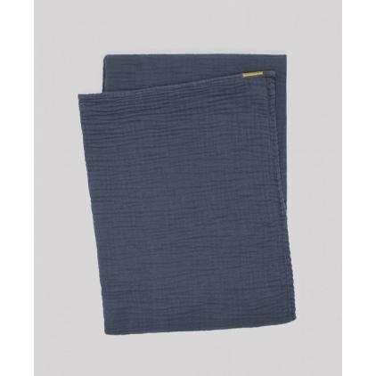 Plaid en double gaze de coton 170 x 250 cm bleu orage