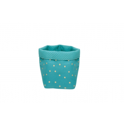 Panier medium basket print confetti bleu pétrol/or