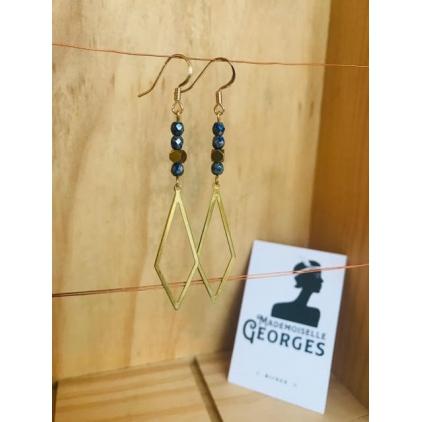 Boucles d'oreilles laiton doré LISBONNE 04 bleu gris