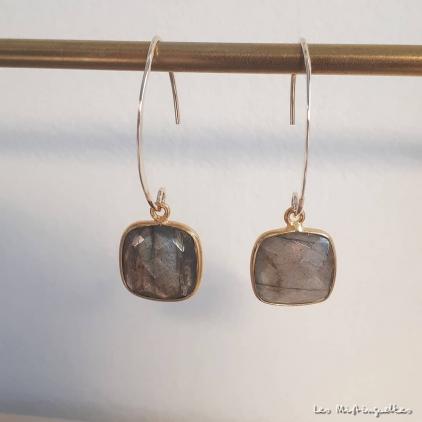 Boucles d'oreilles Eva- labradorite-or