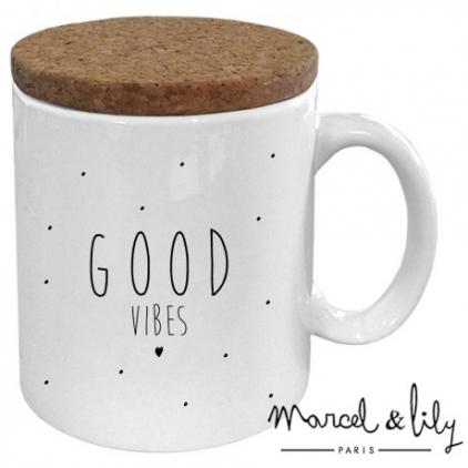Mug avec son couvercle en liège - Good vibes