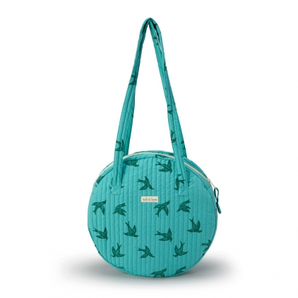 Grand sac rond porté épaule -Green Bird