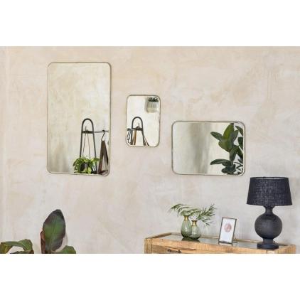 Miroir coins arrondis et bord en laiton