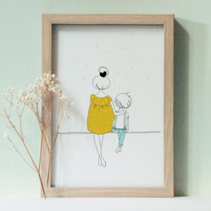 Affiche A4 Love Mum & Boy summer