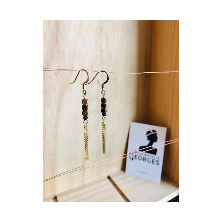 Boucles d'oreilles laiton doré et noir - ACAPULCO - 02