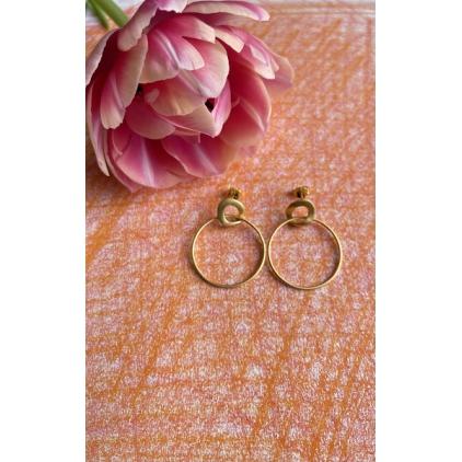 Boucles d'oreilles petit cercle torsasé et grand anneau