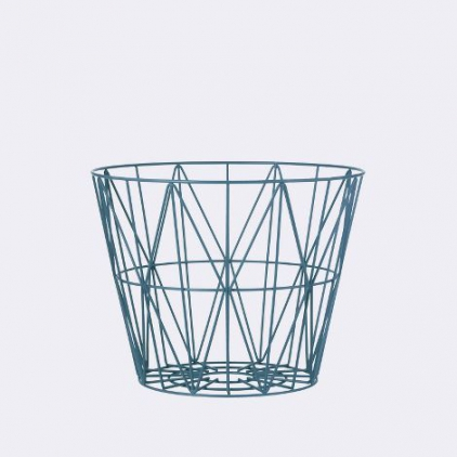wire basket small 40 x 35 cm - petrol