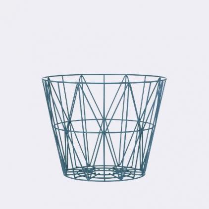 wire basket small 40 x 35 cm - petrol