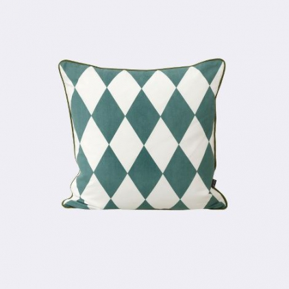 coussin 50 x 50 cm large geometry petrol