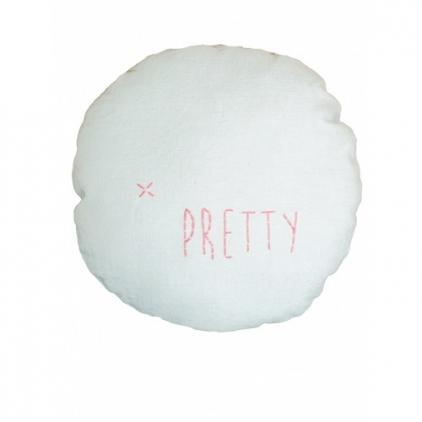 "Coussin en lin couleur aqua ""Pretty"""